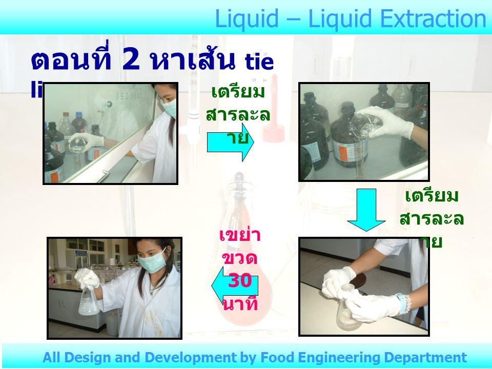 Liquid – Liquid Extraction All Design and Development by Food Engineering Department ตารางที่ 3 ปริมาตร NaOH ที่ใช้ไต เตรต ( ต่อ ) ขวด ใบที่ จำนวนครั้ง ที่จัด ระดับชั้น ของ สารไต เตรต ปริมาตรของ NaOH (ml.) 3 1 ชั้นบน ชั้นล่าง 2 ชั้นบน ชั้นล่าง 3 ชั้นบน ชั้นล่าง