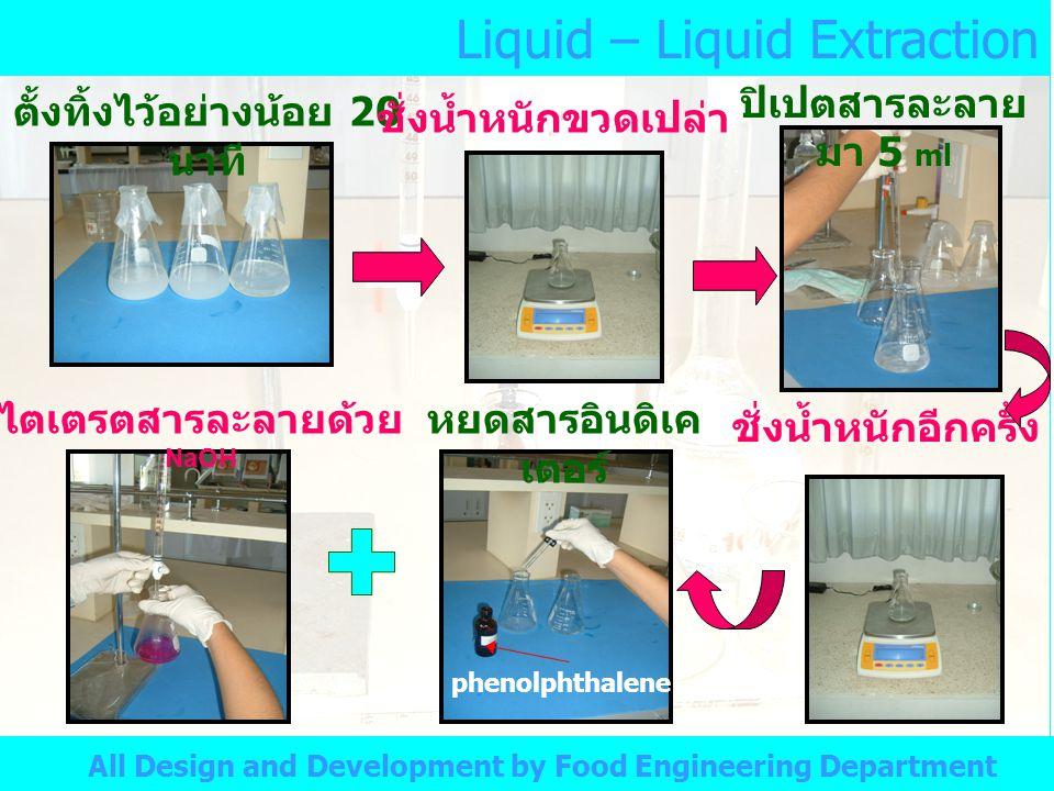 Liquid – Liquid Extraction All Design and Development by Food Engineering Department ตั้งทิ้งไว้อย่างน้อย 20 นาที ชั่งน้ำหนักขวดเปล่า ปิเปตสารละลาย มา 5 ml ชั่งน้ำหนักอีกครั้ง หยดสารอินดิเค เตอร์ phenolphthalene ไตเตรตสารละลายด้วย NaOH