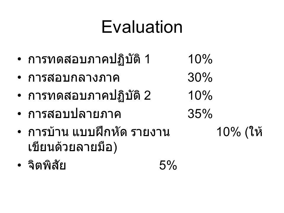 Evaluation การทดสอบภาคปฏิบัติ 110% การสอบกลางภาค 30% การทดสอบภาคปฏิบัติ 210% การสอบปลายภาค 35% การบ้าน แบบฝึกหัด รายงาน 10% ( ให้ เขียนด้วยลายมือ ) จิตพิสัย 5%