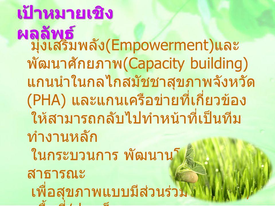 เป้าหมายเชิง ผลลัพธ์ มุ่งเสริมพลัง (Empowerment) และ พัฒนาศักยภาพ (Capacity building) แกนนำในกลไกสมัชชาสุขภาพจังหวัด (PHA) และแกนเครือข่ายที่เกี่ยวข้อ