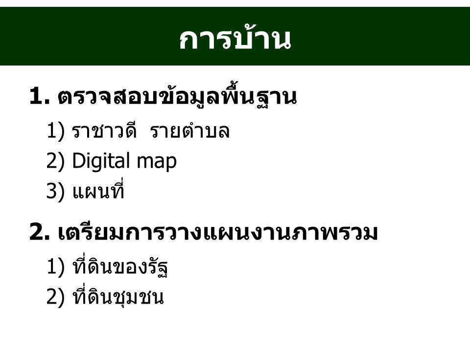 การบ้าน 1. ตรวจสอบข้อมูลพื้นฐาน 1) ราชาวดี รายตำบล 2) Digital map 3) แผนที่ 2.