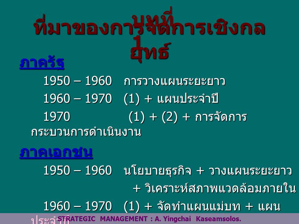 ที่มาของการจัดการเชิงกล ยุทธ์ ภาครัฐ 1950 – 1960 การวางแผนระยะยาว 1950 – 1960 การวางแผนระยะยาว 1960 – 1970 (1) + แผนประจำปี 1960 – 1970 (1) + แผนประจำปี 1970 (1) + (2) + การจัดการ กระบวนการดำเนินงาน 1970 (1) + (2) + การจัดการ กระบวนการดำเนินงานภาคเอกชน 1950 – 1960 นโยบายธุรกิจ + วางแผนระยะยาว 1950 – 1960 นโยบายธุรกิจ + วางแผนระยะยาว + วิเคราะห์สภาพแวดล้อมภายใน + วิเคราะห์สภาพแวดล้อมภายใน 1960 – 1970 (1) + จัดทำแผนแม่บท + แผน ประจำปี 1960 – 1970 (1) + จัดทำแผนแม่บท + แผน ประจำปี 1970 (1) +(2) + วิเคราะห์ สภาพแวดล้อมภายนอก 1970 (1) +(2) + วิเคราะห์ สภาพแวดล้อมภายนอก STRATEGIC MANAGEMENT : A.