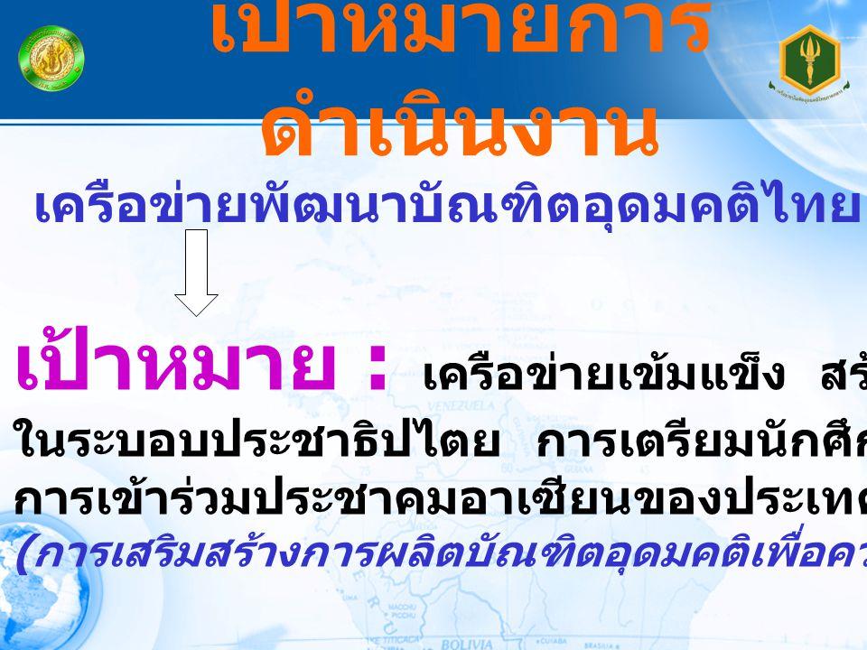 เป้าหมายการ ดำเนินงาน เครือข่ายพัฒนาบัณฑิตอุดมคติไทย เป้าหมาย : เครือข่ายเข้มแข็ง สร้างพลเมือง ในระบอบประชาธิปไตย การเตรียมนักศึกษาสู่ความพร้อม การเข้าร่วมประชาคมอาเซียนของประเทศไทย ( การเสริมสร้างการผลิตบัณฑิตอุดมคติเพื่อความเป็นพลเมือง )
