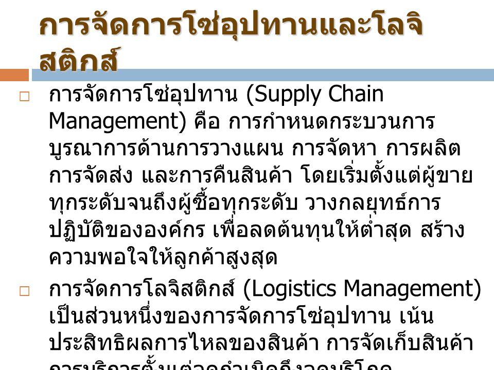 การจัดการโซ่อุปทานและโลจิ สติกส์  การจัดการโซ่อุปทาน (Supply Chain Management) คือ การกำหนดกระบวนการ บูรณาการด้านการวางแผน การจัดหา การผลิต การจัดส่ง