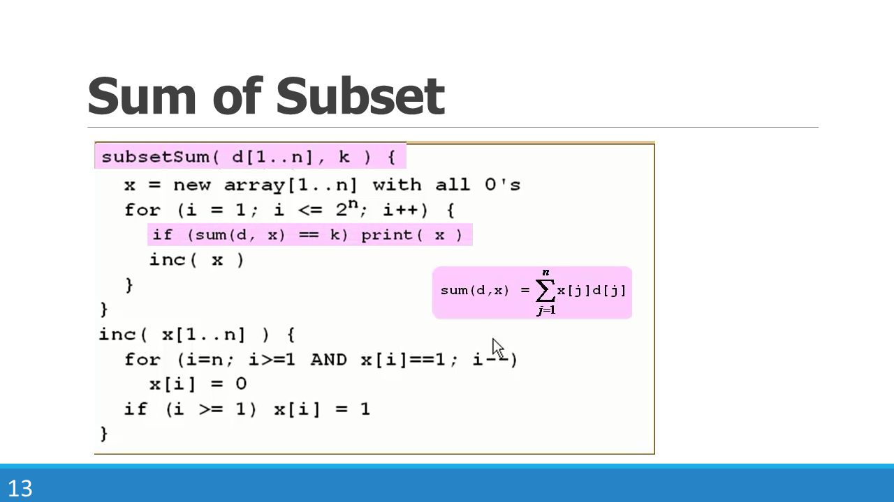 13 Sum of Subset