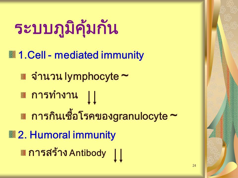 24 ระบบภูมิคุ้มกัน 1.Cell - mediated immunity จำนวน lymphocyte ~ การทำงาน การกินเชื้อโรคของgranulocyte ~ 2. Humoral immunity การสร้าง Antibody
