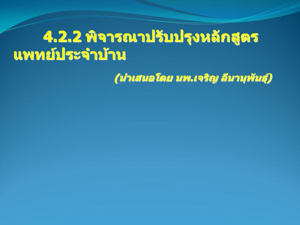 4.2.2 พิจารณาปรับปรุงหลักสูตร แพทย์ประจำบ้าน 4.2.2 พิจารณาปรับปรุงหลักสูตร แพทย์ประจำบ้าน ( นำเสนอโดย นพ.