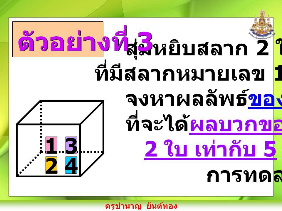 ครูชำนาญ ยันต์ทอง สุ่มหยิบสลาก 2 ใบ จากกล่อง ที่มีสลากหมายเลข 1, 2, 3 และ 4 จงหาผลลัพธ์ของเหตุการณ์ ที่จะได้ผลบวกของสลากทั้ง 2 ใบ เท่ากับ 5 เมื่อกำหนด การทดลองสุ่มดังนี้ ตัวอย่างที่ 3 1 2 3 4