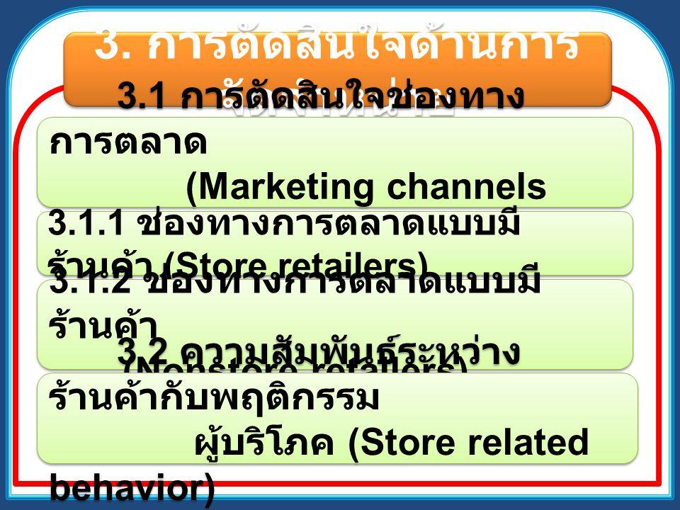 3. การตัดสินใจด้านการ จัดจำหน่าย 3.1 การตัดสินใจช่องทาง การตลาด (Marketing channels decision) 3.1.1 ช่องทางการตลาดแบบมี ร้านค้า (Store retailers) 3.1.
