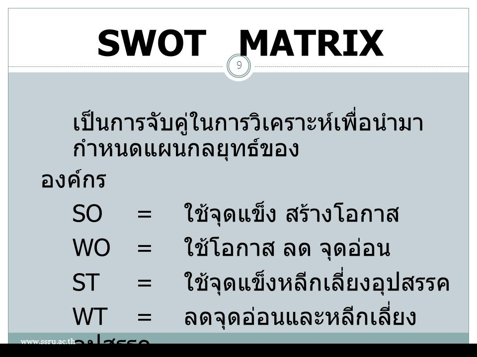SWOT MATRIX เป็นการจับคู่ในการวิเคราะห์เพื่อนำมา กำหนดแผนกลยุทธ์ของ องค์กร SO= ใช้จุดแข็ง สร้างโอกาส WO= ใช้โอกาส ลด จุดอ่อน ST= ใช้จุดแข็งหลีกเลี่ยงอ