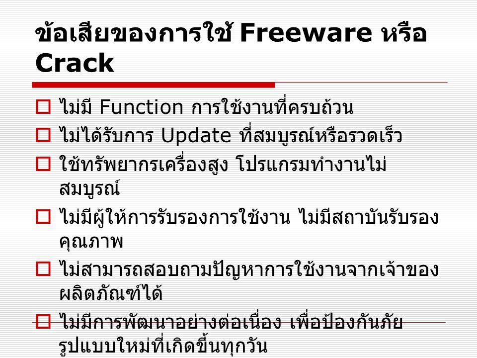 ข้อเสียของการใช้ Freeware หรือ Crack  ไม่มี Function การใช้งานที่ครบถ้วน  ไม่ได้รับการ Update ที่สมบูรณ์หรือรวดเร็ว  ใช้ทรัพยากรเครื่องสูง โปรแกรมทำงานไม่ สมบูรณ์  ไม่มีผู้ให้การรับรองการใช้งาน ไม่มีสถาบันรับรอง คุณภาพ  ไม่สามารถสอบถามปัญหาการใช้งานจากเจ้าของ ผลิตภัณฑ์ได้  ไม่มีการพัฒนาอย่างต่อเนื่อง เพื่อป้องกันภัย รูปแบบใหม่ที่เกิดขึ้นทุกวัน
