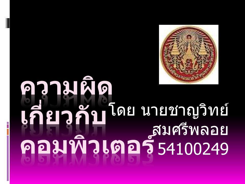 โดย นายชาญวิทย์ สมศรีพลอย 54100249
