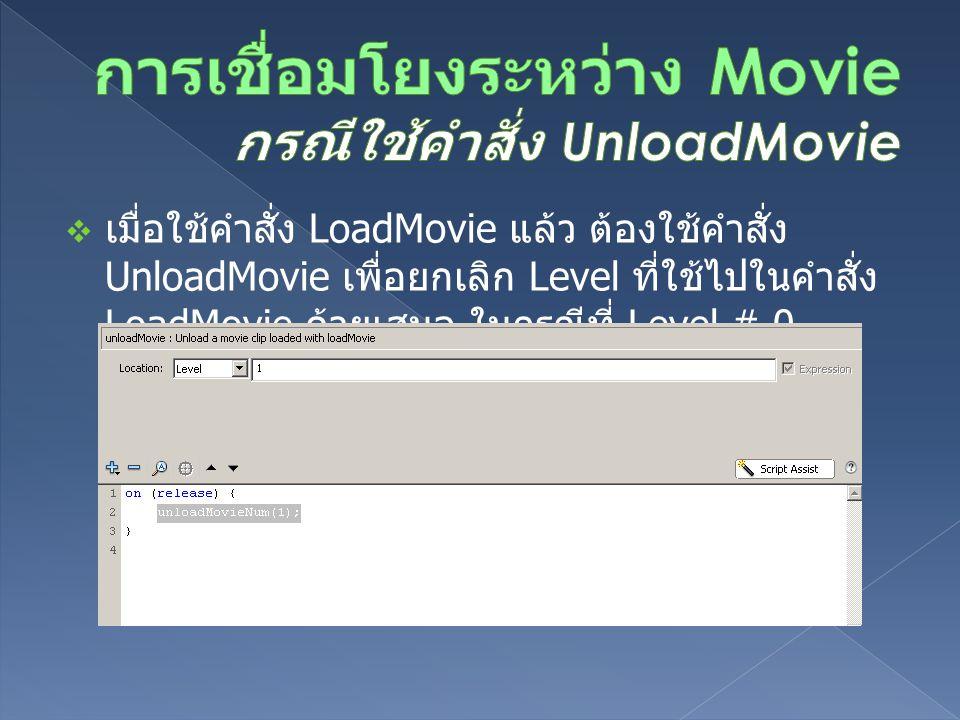  เมื่อใช้คำสั่ง LoadMovie แล้ว ต้องใช้คำสั่ง UnloadMovie เพื่อยกเลิก Level ที่ใช้ไปในคำสั่ง LoadMovie ด้วยเสมอ ในกรณีที่ Level # 0