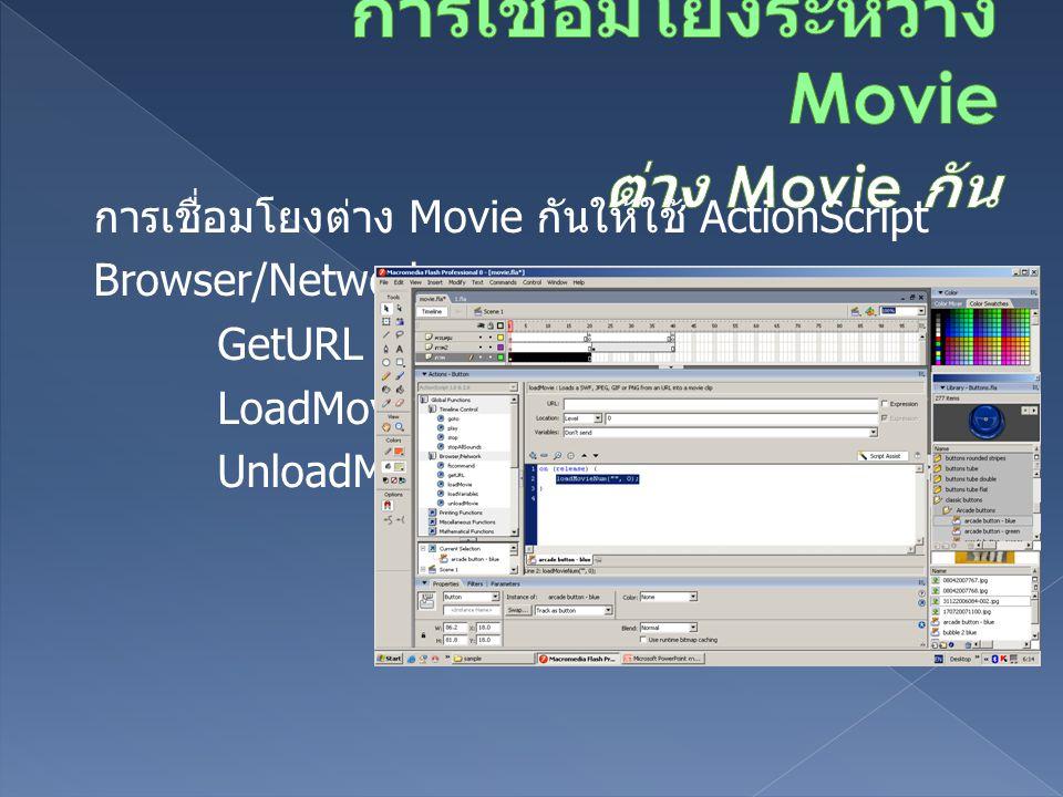 การเชื่อมโยงต่าง Movie กันให้ใช้ ActionScript Browser/Network-> GetURL LoadMovie UnloadMovie