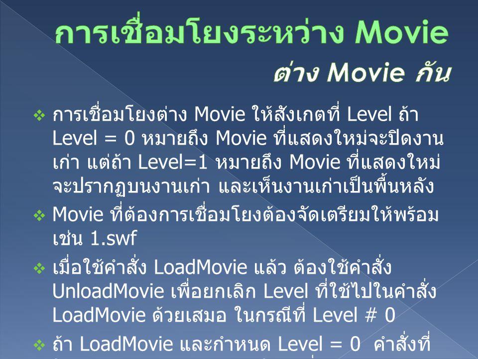  การเชื่อมโยงต่าง Movie ให้สังเกตที่ Level ถ้า Level = 0 หมายถึง Movie ที่แสดงใหม่จะปิดงาน เก่า แต่ถ้า Level=1 หมายถึง Movie ที่แสดงใหม่ จะปรากฏบนงานเก่า และเห็นงานเก่าเป็นพื้นหลัง  Movie ที่ต้องการเชื่อมโยงต้องจัดเตรียมให้พร้อม เช่น 1.swf  เมื่อใช้คำสั่ง LoadMovie แล้ว ต้องใช้คำสั่ง UnloadMovie เพื่อยกเลิก Level ที่ใช้ไปในคำสั่ง LoadMovie ด้วยเสมอ ในกรณีที่ Level # 0  ถ้า LoadMovie และกำหนด Level = 0 คำสั่งที่ ใช้กลับมายังหน้าหลักต้องใช้คำสั่ง LoadMovie Level = 0