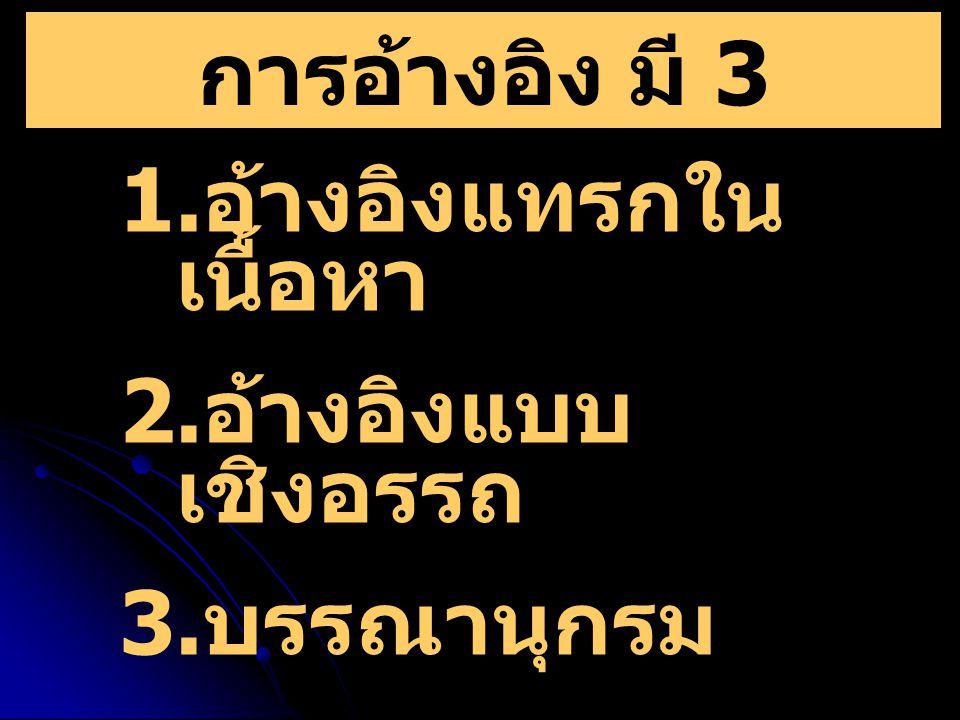 การอ้างอิง มี 3 ประเภท คือ 1. อ้างอิงแทรกใน เนื้อหา 2. อ้างอิงแบบ เชิงอรรถ 3. บรรณานุกรม