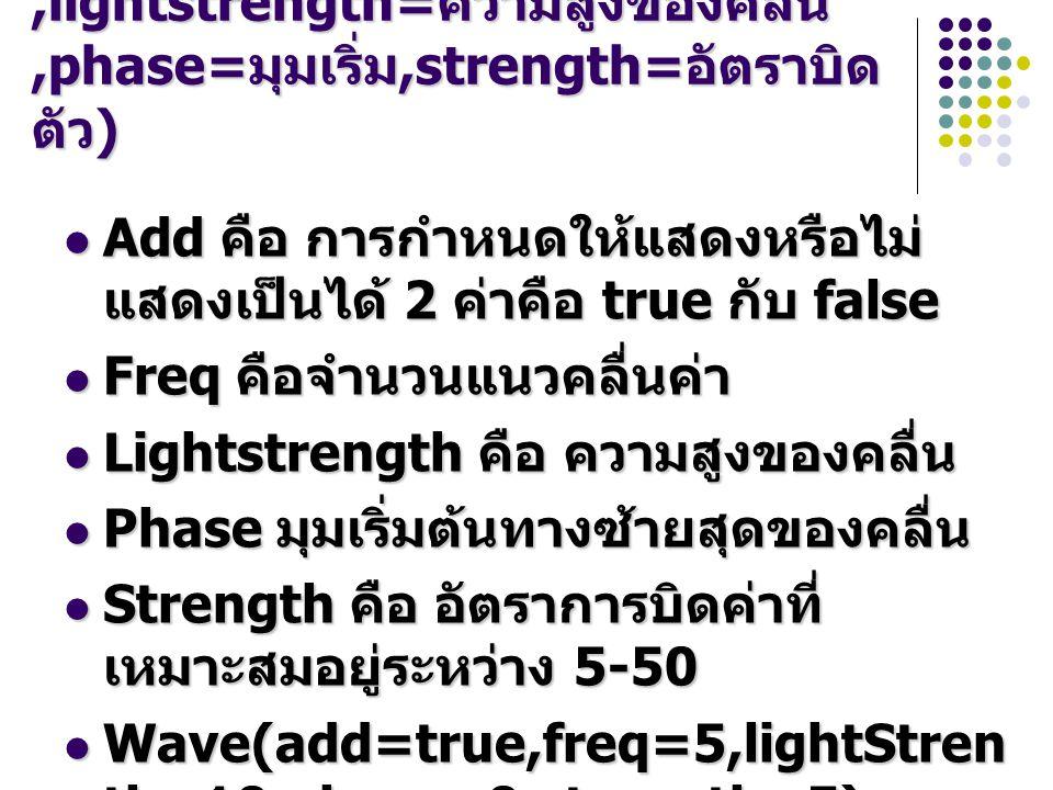 wave(add= แสดง,freq= จำนวนคลื่น,lightstrength= ความสูงของคลื่น,phase= มุมเริ่ม,strength= อัตราบิด ตัว ) Add คือ การกำหนดให้แสดงหรือไม่ แสดงเป็นได้ 2 ค่าคือ true กับ false Add คือ การกำหนดให้แสดงหรือไม่ แสดงเป็นได้ 2 ค่าคือ true กับ false Freq คือจำนวนแนวคลื่นค่า Freq คือจำนวนแนวคลื่นค่า Lightstrength คือ ความสูงของคลื่น Lightstrength คือ ความสูงของคลื่น Phase มุมเริ่มต้นทางซ้ายสุดของคลื่น Phase มุมเริ่มต้นทางซ้ายสุดของคลื่น Strength คือ อัตราการบิดค่าที่ เหมาะสมอยู่ระหว่าง 5-50 Strength คือ อัตราการบิดค่าที่ เหมาะสมอยู่ระหว่าง 5-50 Wave(add=true,freq=5,lightStren th=10,phase=0,strength=5) Wave(add=true,freq=5,lightStren th=10,phase=0,strength=5)