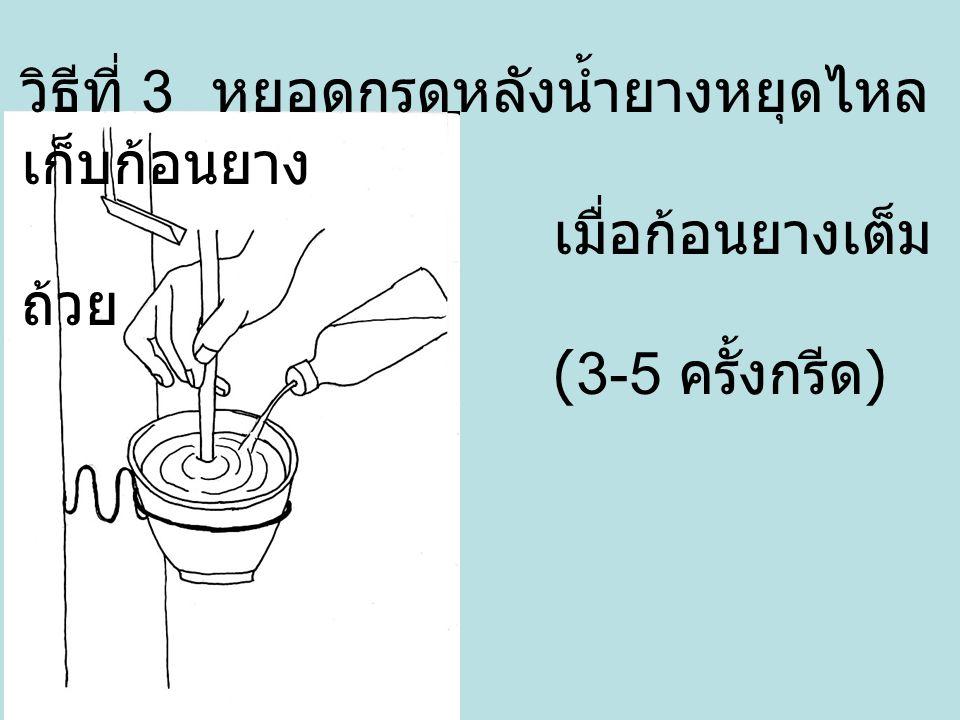 วิธีที่ 3 หยอดกรดหลังน้ำยางหยุดไหล เก็บก้อนยาง เมื่อก้อนยางเต็ม ถ้วย (3-5 ครั้งกรีด )