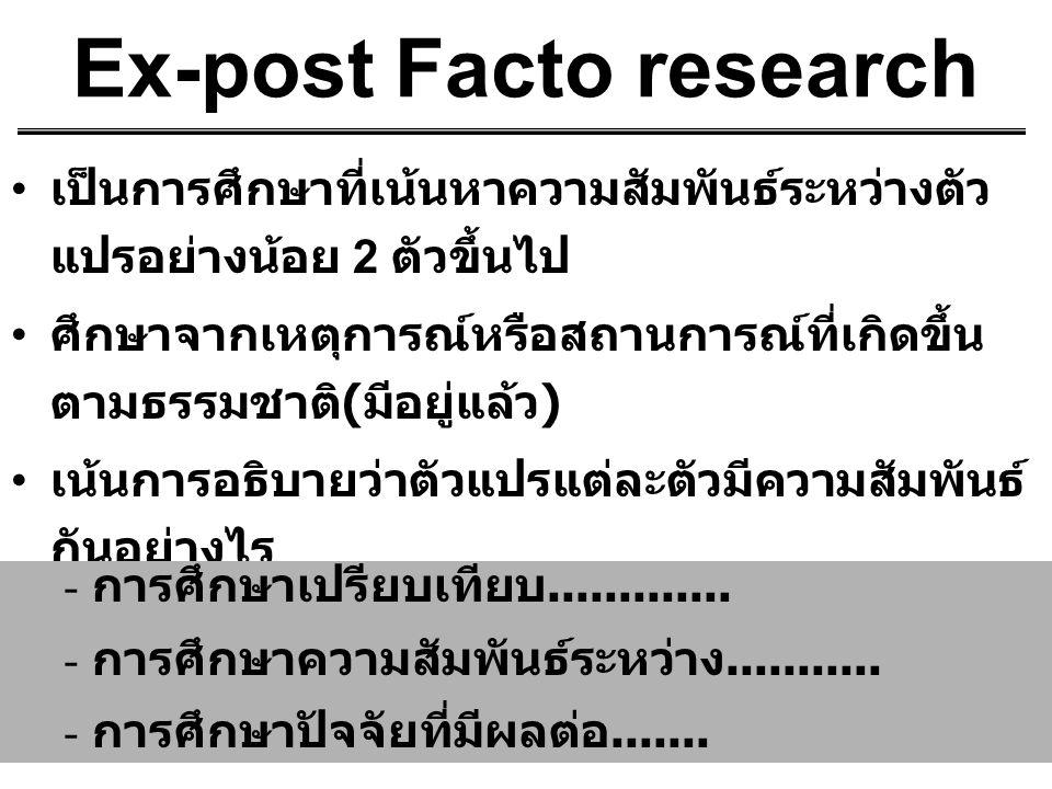 Ex-post Facto research เป็นการศึกษาที่เน้นหาความสัมพันธ์ระหว่างตัว แปรอย่างน้อย 2 ตัวขึ้นไป ศึกษาจากเหตุการณ์หรือสถานการณ์ที่เกิดขึ้น ตามธรรมชาติ ( มี