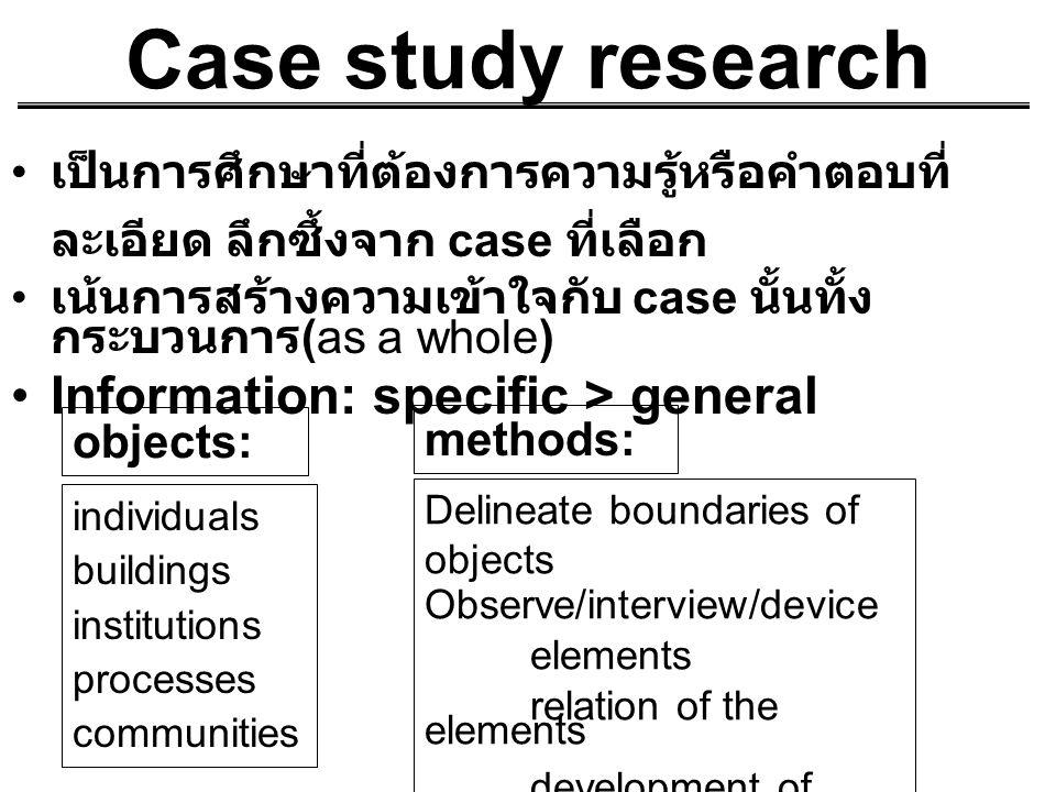 Case study research เป็นการศึกษาที่ต้องการความรู้หรือคำตอบที่ ละเอียด ลึกซึ้งจาก case ที่เลือก เน้นการสร้างความเข้าใจกับ case นั้นทั้ง กระบวนการ (as a