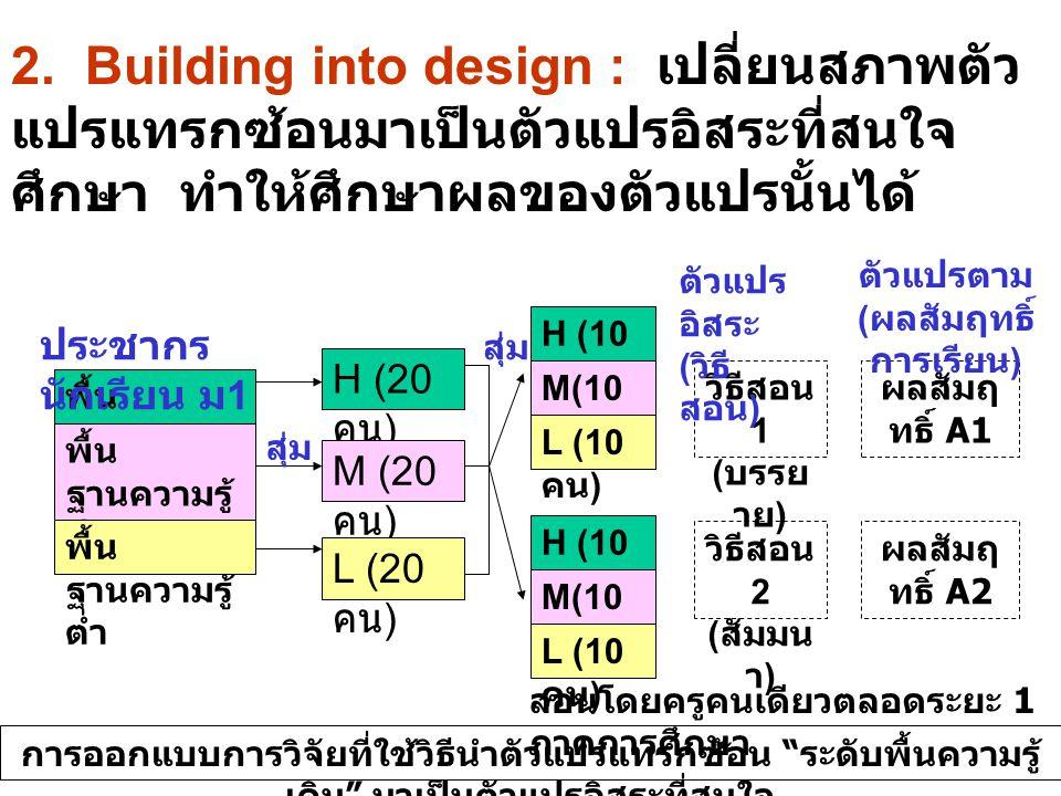 2. Building into design : เปลี่ยนสภาพตัว แปรแทรกซ้อนมาเป็นตัวแปรอิสระที่สนใจ ศึกษา ทำให้ศึกษาผลของตัวแปรนั้นได้ พื้น ฐานความรู้ สูง พื้น ฐานความรู้ ปา