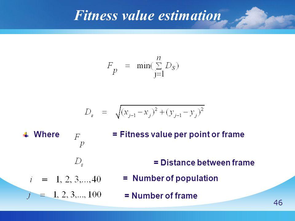 Fitness value estimation Where = Fitness value per point or frame = Distance between frame = Number of population = Number of frame 46