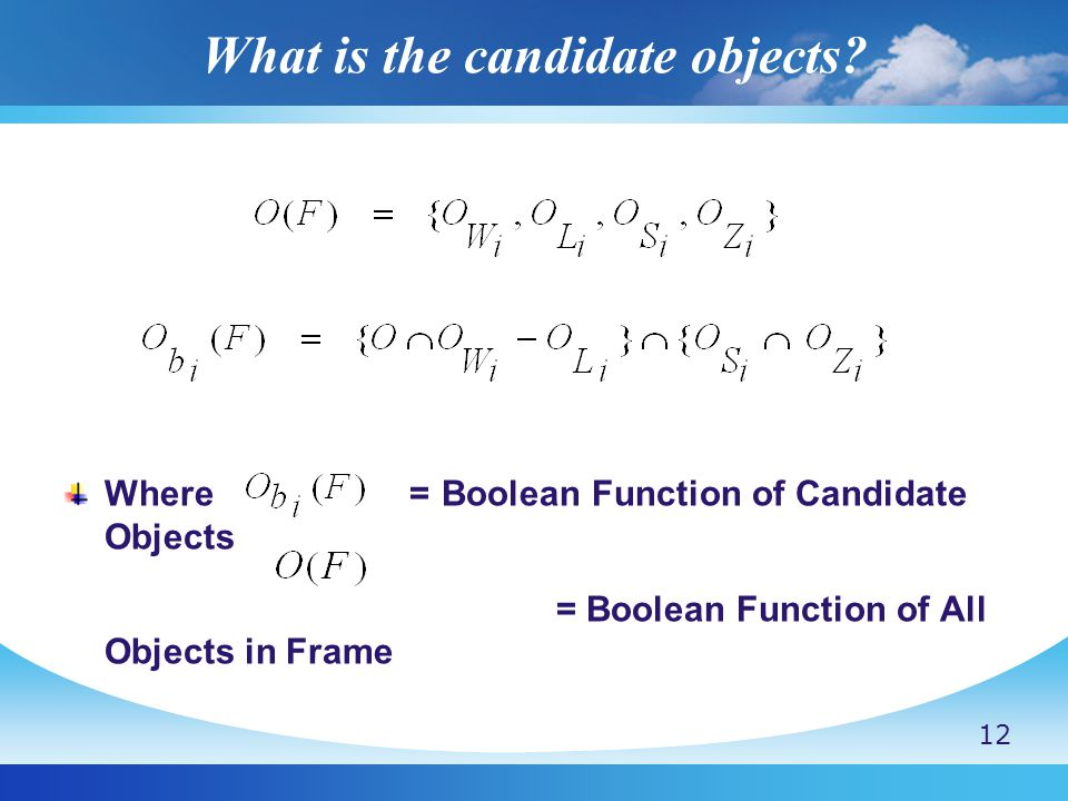 What is the candidate objects.
