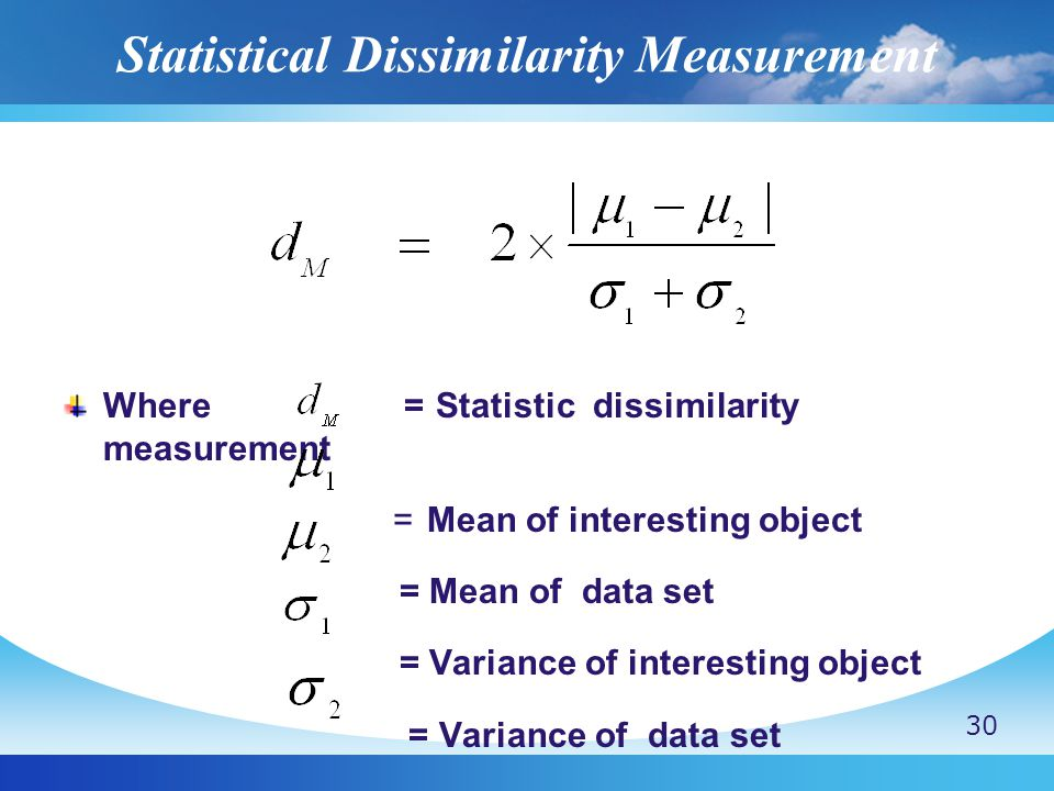 Statistical Dissimilarity Measurement Where = Statistic dissimilarity measurement = Mean of interesting object = Mean of data set = Variance of interesting object = Variance of data set 30