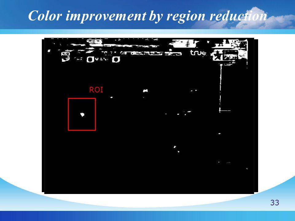 Color improvement by region reduction (x b,y b )  x b  y b (x c,y c ) (x b,y b )  x b  y b (x c,y c ) 33 ROI