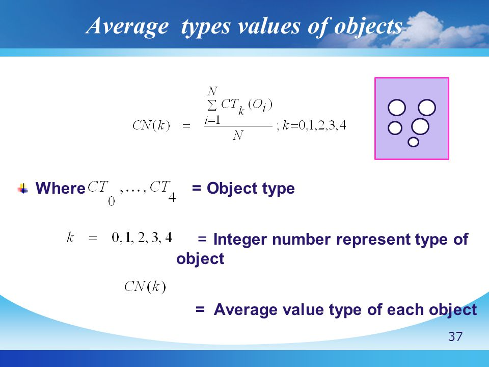 Average types values of objects Where = Object type = Integer number represent type of object = Average value type of each object 37