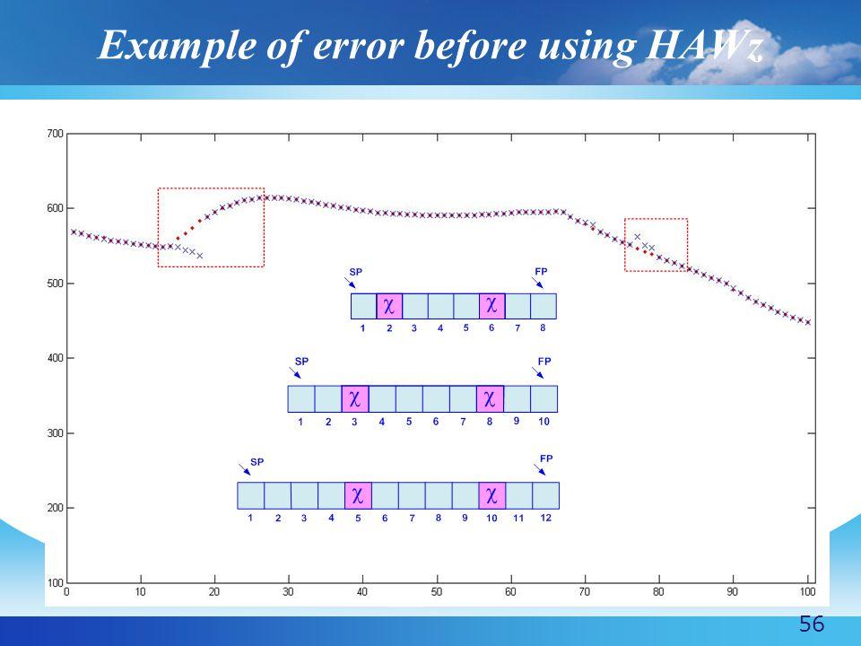 Example of error before using HAWz 56