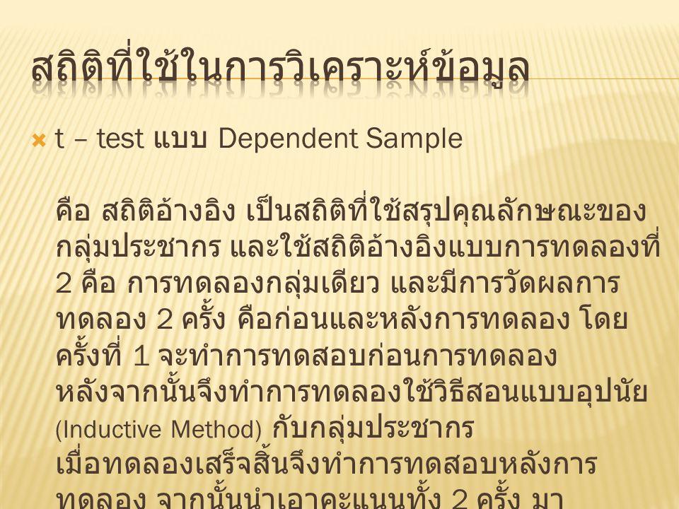  t – test แบบ Dependent Sample คือ สถิติอ้างอิง เป็นสถิติที่ใช้สรุปคุณลักษณะของ กลุ่มประชากร และใช้สถิติอ้างอิงแบบการทดลองที่ 2 คือ การทดลองกลุ่มเดีย