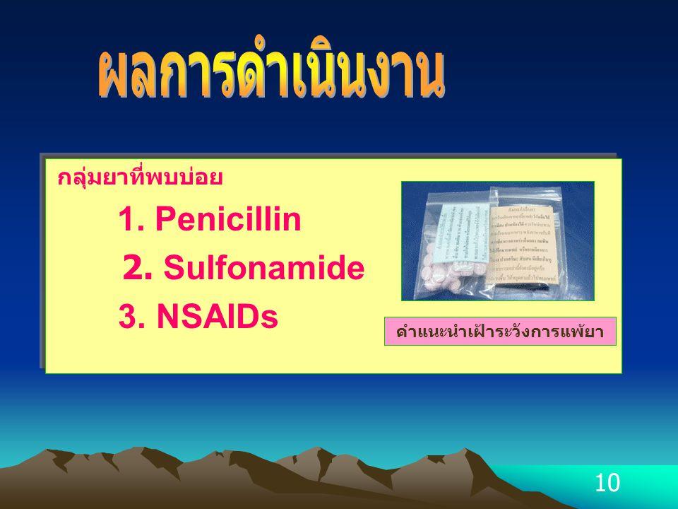 10 กลุ่มยาที่พบบ่อย 1. Penicillin 2. Sulfonamide 3. NSAIDs คำแนะนำเฝ้าระวังการแพ้ยา