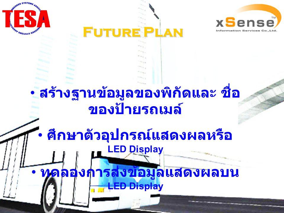 Future Plan สร้างฐานข้อมูลของพิกัดและ ชื่อ ของป้ายรถเมล์ ศึกษาตัวอุปกรณ์แสดงผลหรือ LED Display ทดลองการส่งข้อมูลแสดงผลบน LED Display