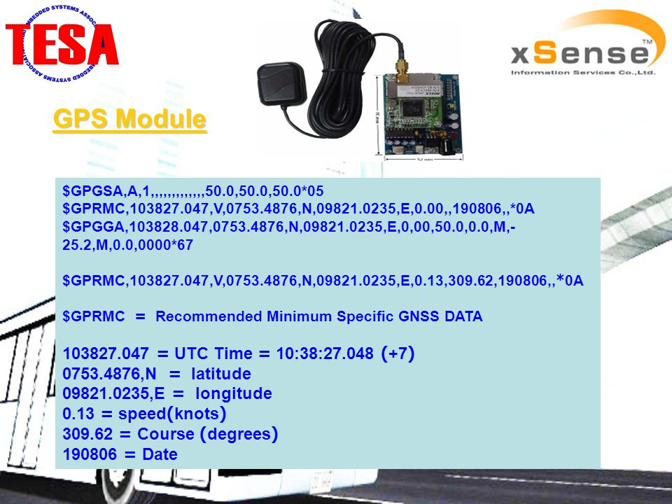 GPS Module $GPGSA,A,1,,,,,,,,,,,,,50.0,50.0,50.0*05 $GPRMC,103827.047,V,0753.4876,N,09821.0235,E,0.00,,190806,,*0A $GPGGA,103828.047,0753.4876,N,09821.0235,E,0,00,50.0,0.0,M,- 25.2,M,0.0,0000*67 $GPRMC,103827.047,V,0753.4876,N,09821.0235,E,0.13,309.62,190806,,*0A $GPRMC = Recommended Minimum Specific GNSS DATA 103827.047 = UTC Time = 10:38:27.048 (+7) 0753.4876,N = latitude 09821.0235,E = longitude 0.13 = speed(knots) 309.62 = Course (degrees) 190806 = Date