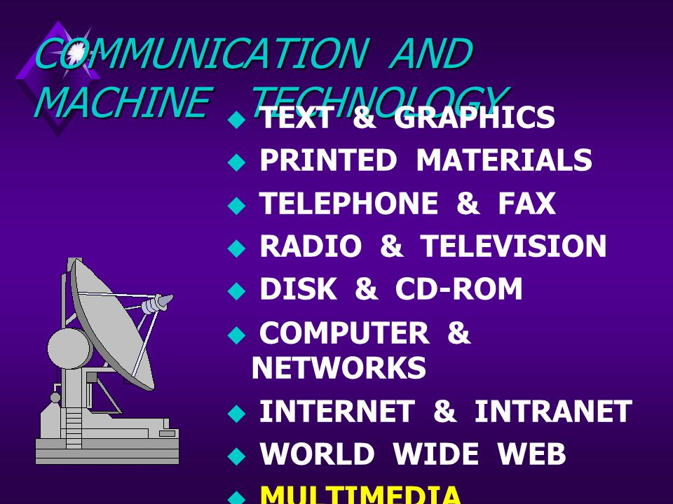 COMMUNICATION AND MACHINE TECHNOLOGY  TEXT & GRAPHICS  PRINTED MATERIALS  TELEPHONE & FAX  RADIO & TELEVISION  DISK & CD-ROM  COMPUTER & NETWORKS  INTERNET & INTRANET  WORLD WIDE WEB  MULTIMEDIA NETWORKS