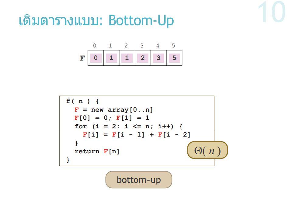 เติมตารางแบบ : Bottom-Up 10