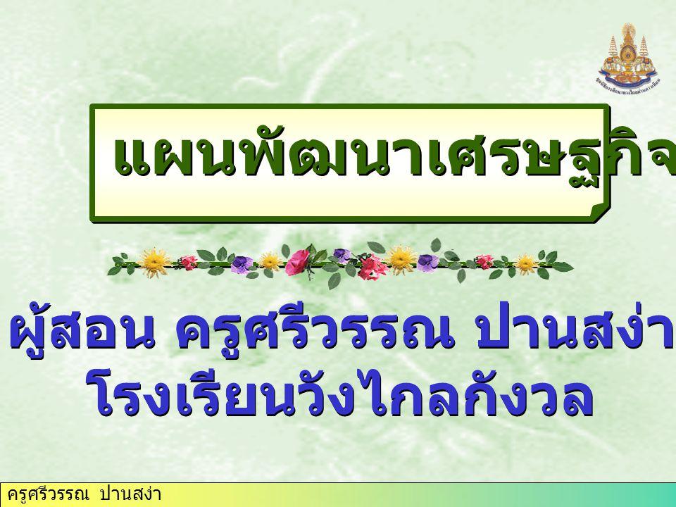 ครูศรีวรรณ ปานสง่า แผนพัฒนาเศรษฐกิจของไทย ผู้สอน ครูศรีวรรณ ปานสง่า โรงเรียนวังไกลกังวล ผู้สอน ครูศรีวรรณ ปานสง่า โรงเรียนวังไกลกังวล