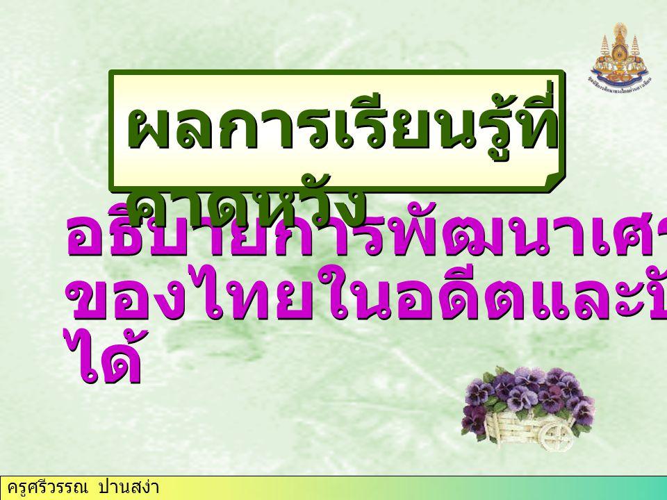 ครูศรีวรรณ ปานสง่า แผนพัฒนา เศรษฐกิจของไทย อดีตอดีตปัจจุบันปัจจุบัน - เค้าโครงเศรษฐกิจแห่งชาติ - สภาเศรษฐกิจแห่งชาติ