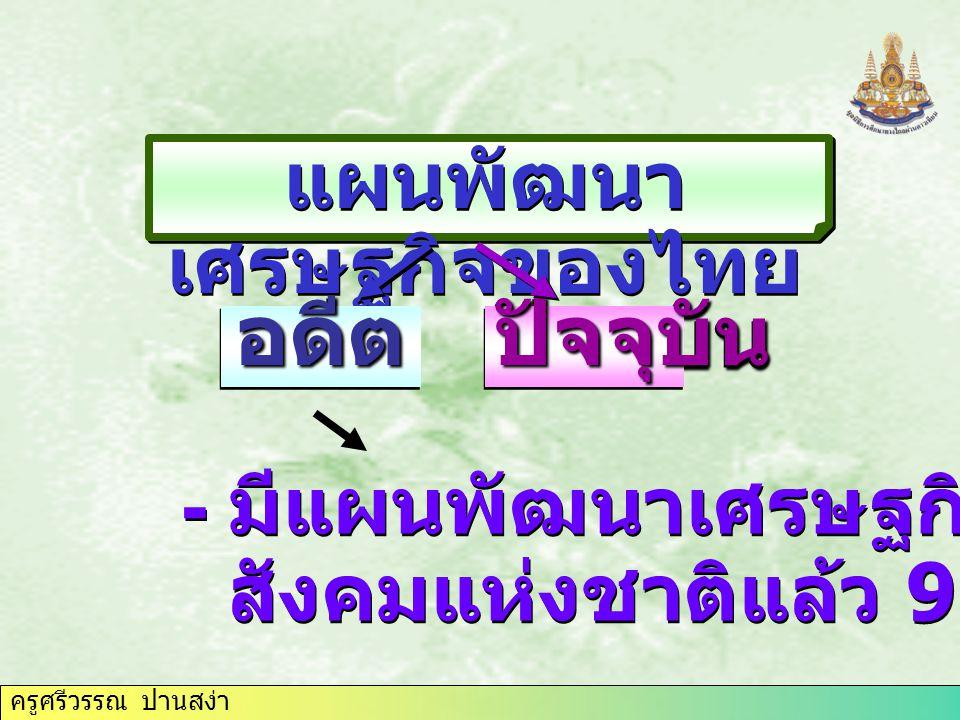 ครูศรีวรรณ ปานสง่า แผนพัฒนา เศรษฐกิจของไทย อดีตอดีตปัจจุบันปัจจุบัน - มีแผนพัฒนาเศรษฐกิจและ สังคมแห่งชาติแล้ว 9 ฉบับ - มีแผนพัฒนาเศรษฐกิจและ สังคมแห่ง