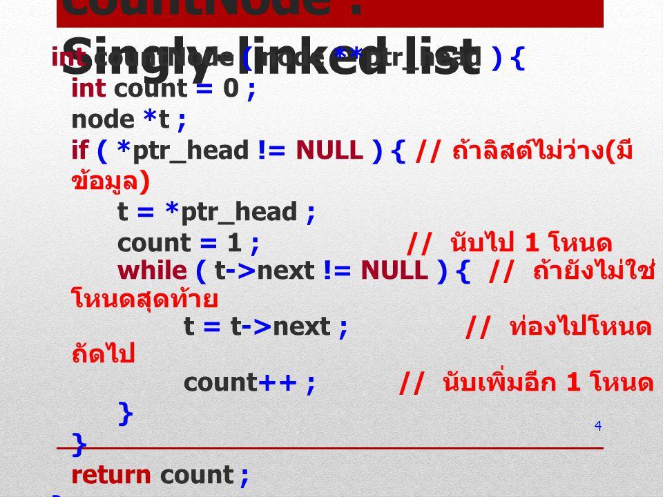 countNode : Singly-linked list int countNode ( node **ptr_head ) { int count = 0 ; node *t ; if ( *ptr_head != NULL ) { // ถ้าลิสต์ไม่ว่าง ( มี ข้อมูล