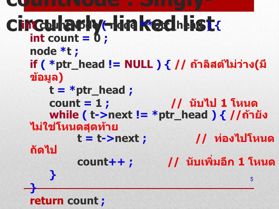 countNode : Singly- circularly-linked list int countNode ( node **ptr_head ) { int count = 0 ; node *t ; if ( *ptr_head != NULL ) { // ถ้าลิสต์ไม่ว่าง