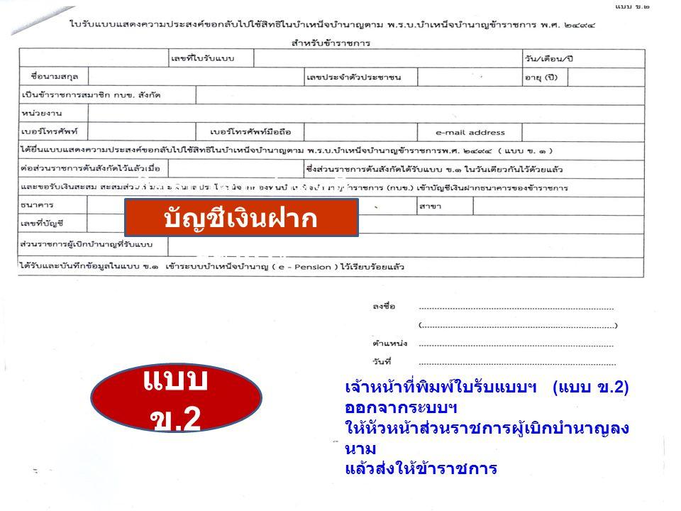 บันทึกในระบบ e-Pensio เจ้าหน้าที่พิมพ์ใบรับแบบฯ ( แบบ ข.2) ออกจากระบบฯ ให้หัวหน้าส่วนราชการผู้เบิกบำนาญลง นาม แล้วส่งให้ข้าราชการ แบบ ข.2 ชื่อธนาคาร /