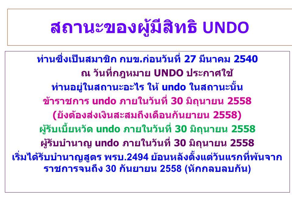 สถานะของผู้มีสิทธิ UNDO ท่านซึ่งเป็นสมาชิก กบข.ก่อนวันที่ 27 มีนาคม 2540 ณ วันที่กฎหมาย UNDO ประกาศใช้ ท่านอยู่ในสถานะอะไร ให้ undo ในสถานะนั้น ข้าราช