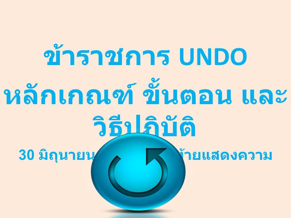 ข้าราชการ UNDO หลักเกณฑ์ ขั้นตอน และ วิธีปฏิบัติ 30 มิถุนายน 2558 วันสุดท้ายแสดงความ ประสงค์