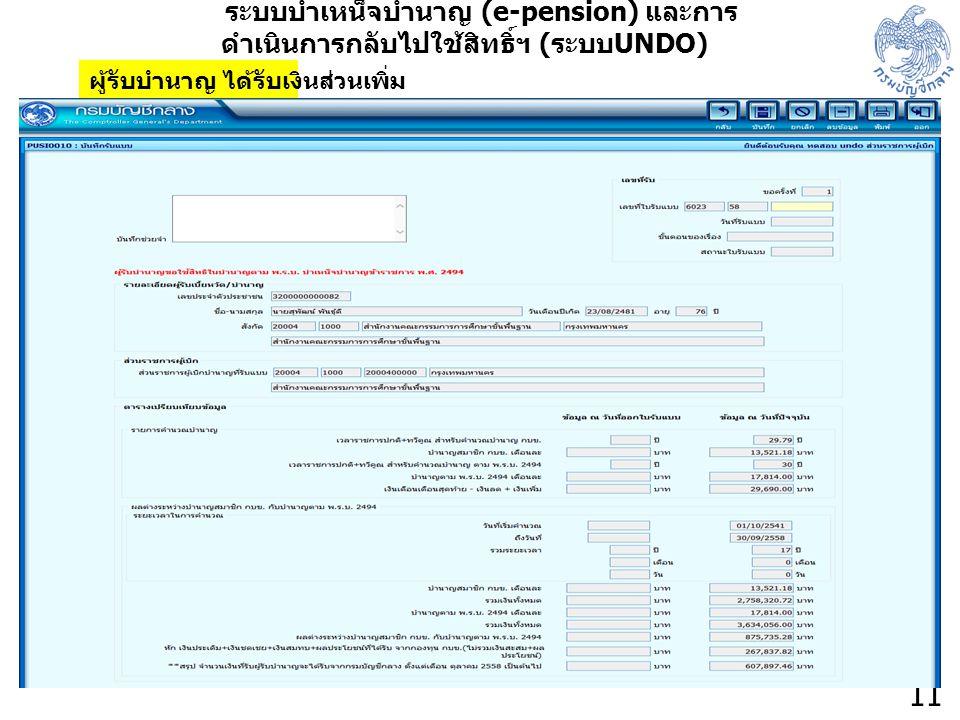 11 ระบบบำเหน็จบำนาญ (e-pension) และการ ดำเนินการกลับไปใช้สิทธิ์ฯ ( ระบบ UNDO) ผู้รับบำนาญ ได้รับเงินส่วนเพิ่ม