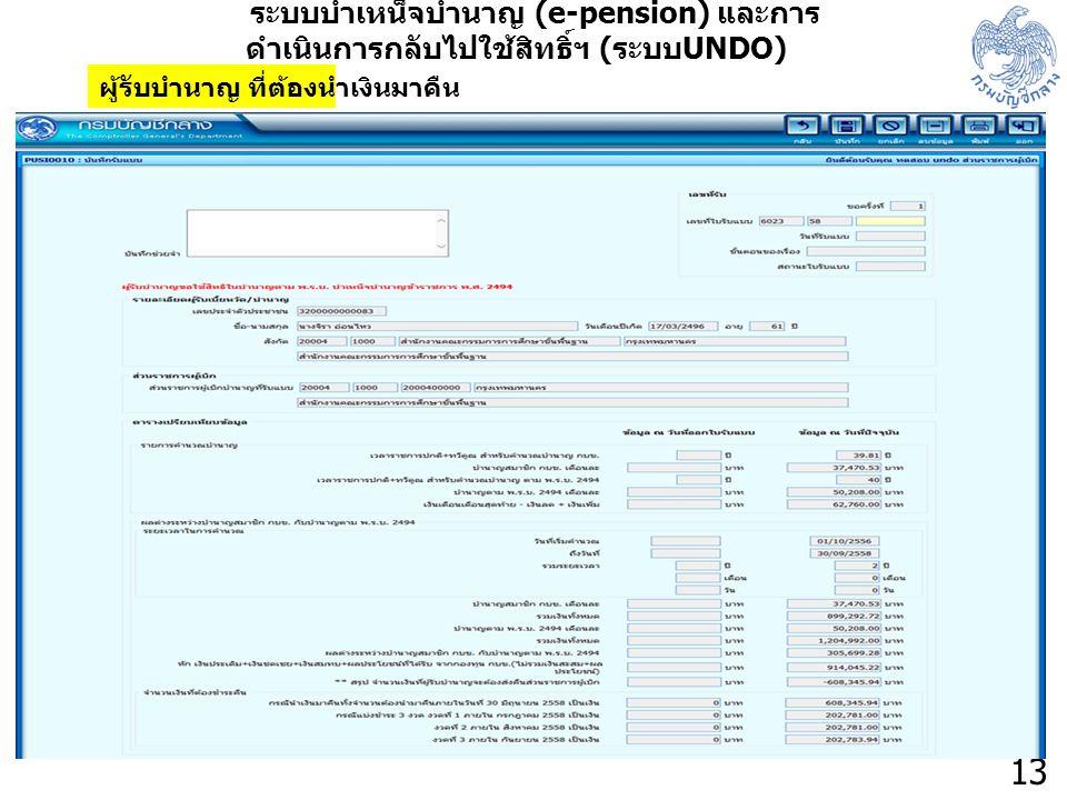 13 ระบบบำเหน็จบำนาญ (e-pension) และการ ดำเนินการกลับไปใช้สิทธิ์ฯ ( ระบบ UNDO) ผู้รับบำนาญ ที่ต้องนำเงินมาคืน