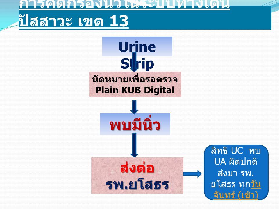 การคัดกรองนิ่วในระบบทางเดิน ปัสสาวะ เขต 13 Urine Strip นัดหมายเพื่อรอตรวจ Plain KUB Digital พบมีนิ่ว ส่งต่อ รพ. ยโสธร สิทธิ UC พบ UA ผิดปกติ ส่งมา รพ.