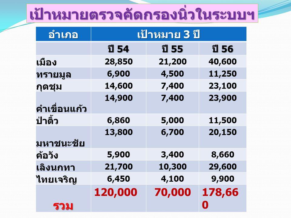 เป้าหมายตรวจคัดกรองนิ่วในระบบฯ อำเภอ เป้าหมาย 3 ปี ปี 54 ปี 55 ปี 56 เมือง 28,85021,20040,600 ทรายมูล 6,9004,50011,250 กุดชุม 14,6007,40023,100 คำเขื่