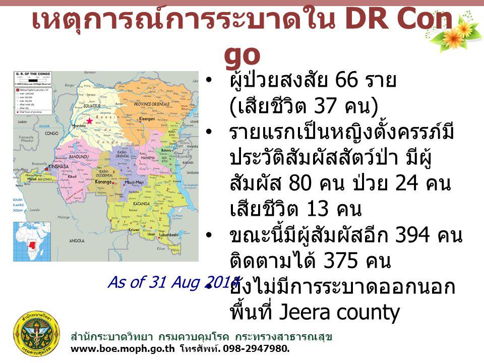 สำนักระบาดวิทยา กรมควบคุมโรค กระทรวงสาธารณสุข www.boe.moph.go.th โทรศัพท์. 098-2947980. เหตุการณ์การระบาดใน DR Con go ผู้ป่วยสงสัย 66 ราย ( เสียชีวิต